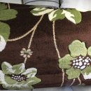 BROWN/GREEN/CREAM FLORAL POLYPROPYLENE CARVED RUG 120X160