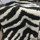 BLACK/CREAM SHAGGY POLYPROPYLENE RUG 80X150