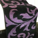 BLACK/PURPLE POLYPROPYLENE CARVED FLORAL RUNNER RUG 60X230