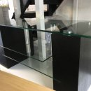 BLACK HEAVY DUTY WOODEN/GLASS TV STAND