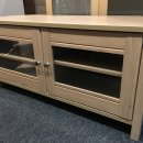 OAK VENEER 2 GLASS DOORS 2 SHELVES CORNER TV UNIT