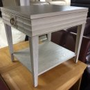 SOFT GREY WOODEN 1 DRAWER END TABLE /SIDE TABLE